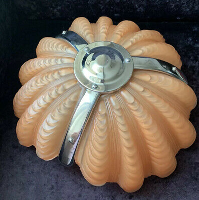 Original Art Deco Chrome & Salmon Pink Glass Odeon Style Clam Shell Light Shade