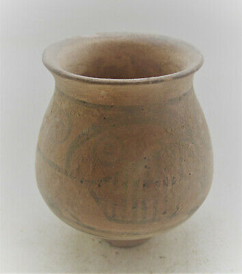 Ancient Indus Valley Harappan Terracotta Vessel With Beast Motifs 2000 Bc