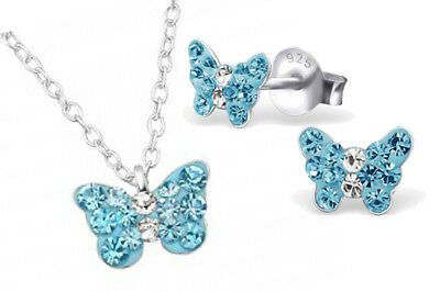 Girls Children 925 Sterling Silver Blue Butterfly Crystal Necklace Earring Set
