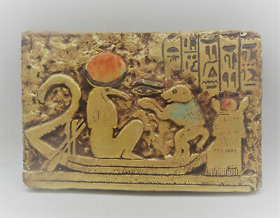 Museum Quality Ancient Egyptian Stone Carved Panel Gold Gilt And Heiroglyphs