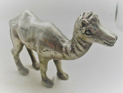 Circa 200Bc-200Ad Ancient Bactrian Silver Camel Figurine Beautiful