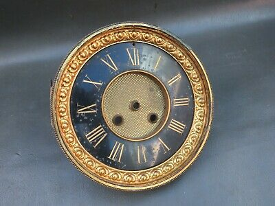 Vintage brass clock front door with marble chapter ring - spares parts