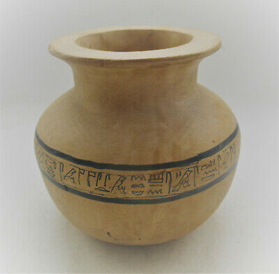 Rare Ancient Egyptian Clay Pottery Vessel With Heiroglyphics 300Bce