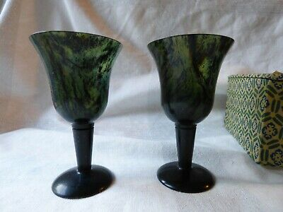 set 2 green spinach jade stemmed cordial glasses nephrite  in box antique