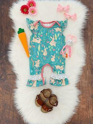 Baby Girls Easter Romper, Turquoise Bunny Hop Lace, Cute Boutique Infant Outfit