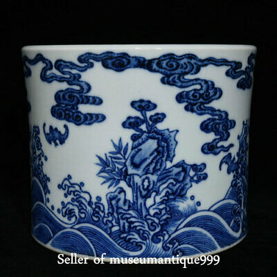 "7.6"" Marked China Blue White Porcelain Qing Dynasty Palace Brush Pot Pencil Vase"