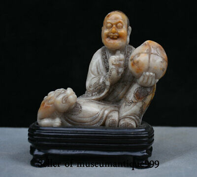 "5.2"" Old Chinese Shoushan Stone Carved Peach Lohan Arhat Buddha Beast Sculpture"