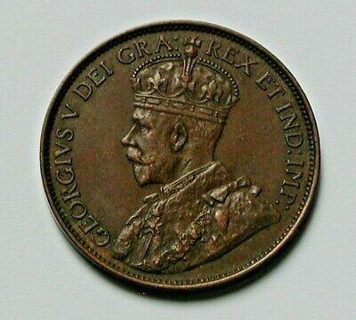 1913 CANADA George V Coin - Large Cent (1¢) -