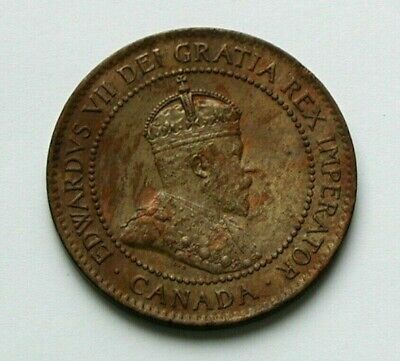 1903 CANADA Edward VII Coin - Large Cent (1¢) - AU+ (greenish) iridescent patina