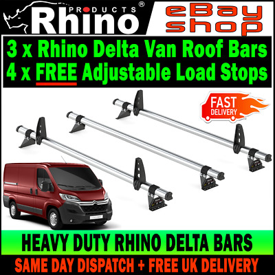 Citroen Relay Roof Rack Bars x3 Rhino Delta and Load Stops (LOW-H1) 2006-2019