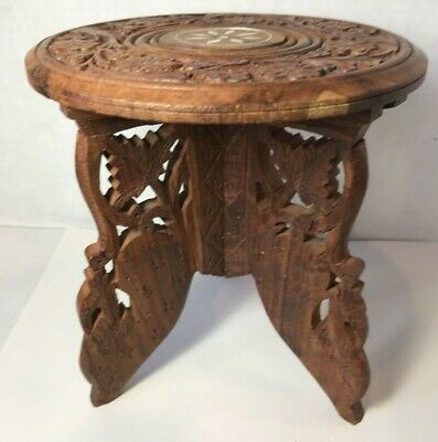 Wood Round Table India Sheesham Bone Inlay Flower Hand Carved Vintage (C)