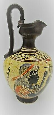 Rare Ancient Greek Style Terracotta Corinthian Decorated Vessel With Handle