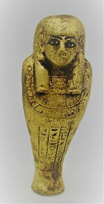 Circa 1000 - 500 Bce Ancient Egyptian Gold Gilded Ushabti Shabti