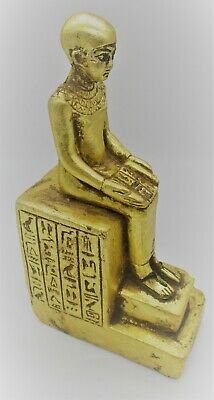 Beautiful Ancient Egyptian Gold Gilded Stone Statue Of Seated Ahkenaton