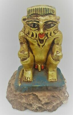 Scarce Ancient Egyptian Gold Gilded Stone Statuette Of Bes Beautiful Item