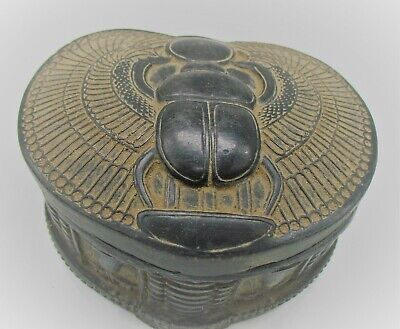 Beautiful Ancient Egyptian Black Stone Glazed Safebox Depicting Winged Scarab