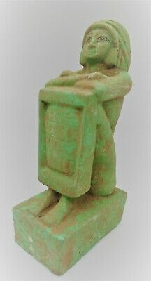 Scarce Circa 500Bce Ancient Egyptian Glazed Faience Kneeling Pharoah Figurine