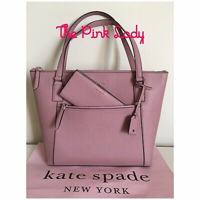 Kate Spade 💯%Auth Cameron Dusty Peony Pocket Tote & Large Slim Bifold Wallet