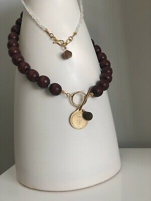 Wood Bead/ Crystal Necklace With Prcious Metal Ancient Roman Coin