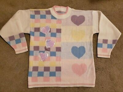 VINTAGE 80s 90s GIRLS PASTEL SWEATER WITH IRIDESCENT HEARTS
