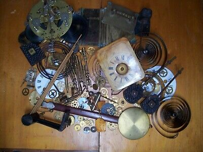 Old vintage clock parts, various items.