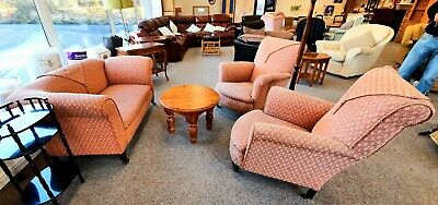 Pink Victorian Suite. Pink Chaise Lounge Sofa with Drop Leaf Arm & 2 Armchairs