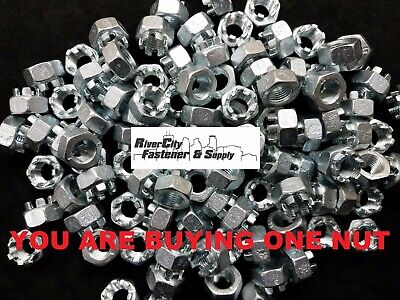 (1) M14-1.5 Slotted Hex Castle Nut Zinc Plated 14mm Fine Thread nuts M14x1.5