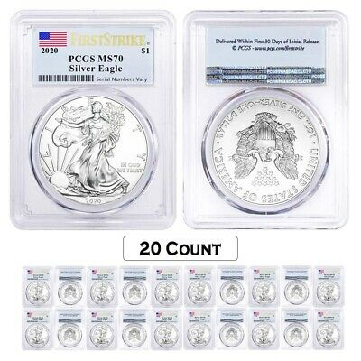 Lot of 20 - 2020 1 oz Silver American Eagle $1 Coin PCGS MS 70 FS (Flag Label)