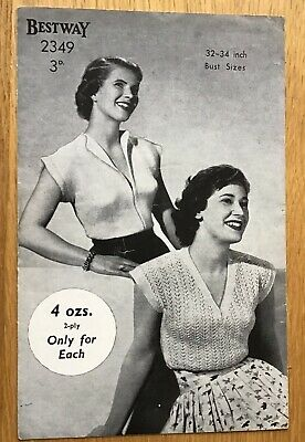A Vintage Knitting Pattern - Ladies Jumpers - 2ply - 1950s