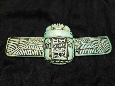 ANCIENT EGYPTIAN ANTIQUES Rare WINGED Scarab Beetle With Hieroglyphics 664-332BC