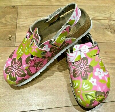 PAPILLIO by BIRKENSTOCK Boston Floral Leather Shoes Mules Slip On Sandals UK4