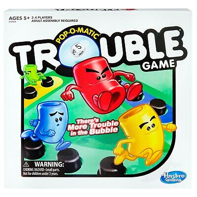 NEW! Trouble Board Game for Kids Ages 5 & Up, 2-4 Players