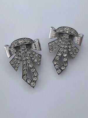 Superb Sterling Silver & Paste 1920s Art Deco Dress Clips vintage jewellery
