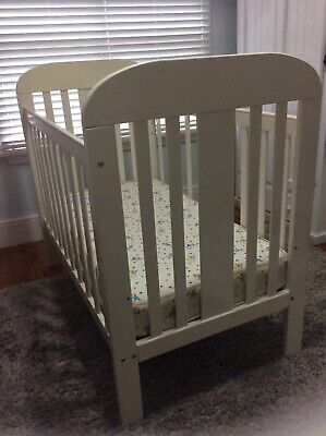 Pamco white wooden baby cot
