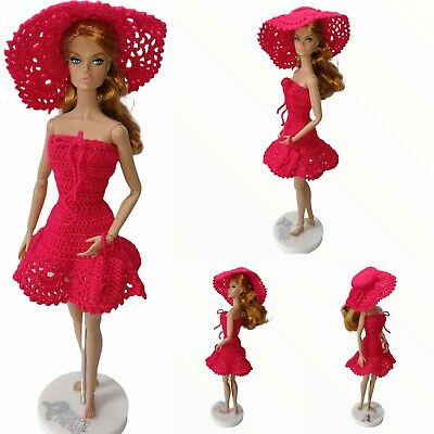 Outfit for Barbie OOAK red lace dress sun hats clutch crochet 1/6th 12 in dolls