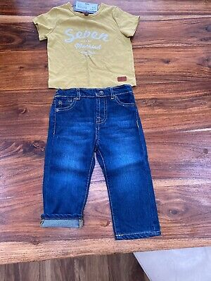 7 for all mankind Baby Boys Age 12 Months Bnwt Jeans and Top