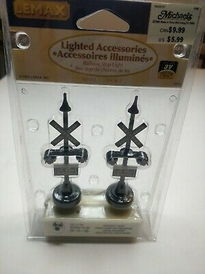 Lemax 34954 Blinking Rail Road Crossing Stop Light Signals Set Of 2 NIP DC 3V
