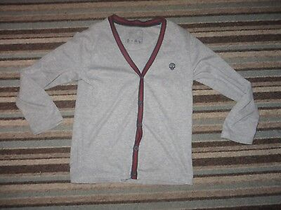 boys boy grey & red cardigan top age 8 years skull embroidered on