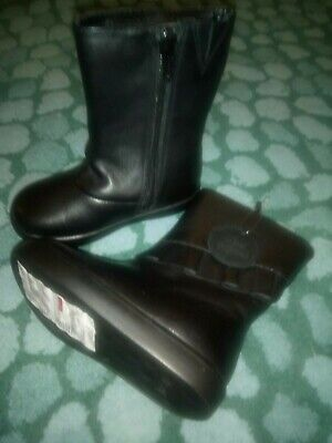New Marks And Spencer Girls Boots Size 6 with Zips black leather Upper