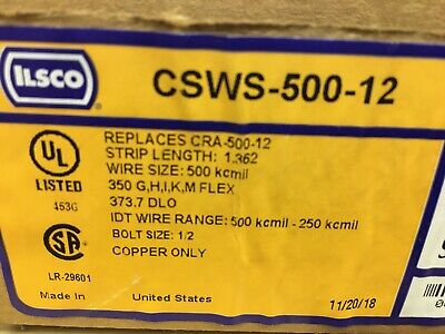 "ILSCO CSWS-500-12 Compression Lug, 1-Hole, Copper, 500 MCM, 1/2"" Stud Size"