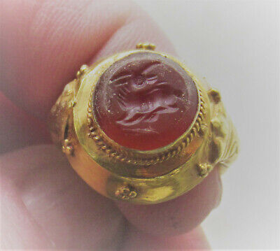 Scarce Ancient Roman High Carat Gold Seal Ring Carnelian Stone Pegasus