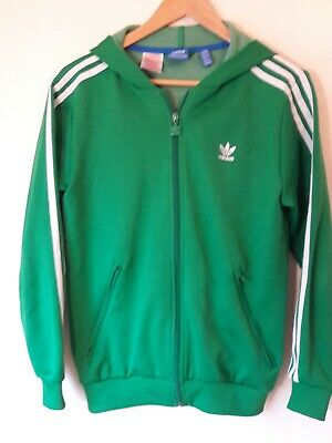 ADIDAS Green Hooded Track Suit Sports Jacket Age 13-14 Years