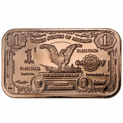 10 COPPER BAR 1 OUNCE BAR-BANKNOTE $1000 GROVER CLEVELAND  DESIGN LOT OF