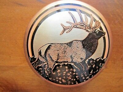 Copper Round Lidded Trinket Box with Elk Decor on top of lid, very attractive