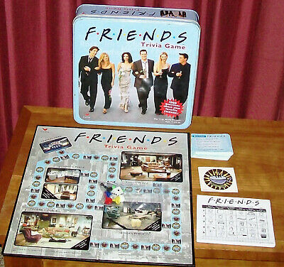 2002 Friends Trivia Game BLUE TIN COMPLETE very nice