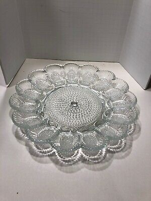 INDIANA GLASS Hobnail EGG PLATE Tray Dish Vintage Clear