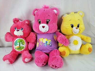 Care Bears LOT of 3 Build A Bear Pink Cheer Stuffed Plush Large Funshine Friend