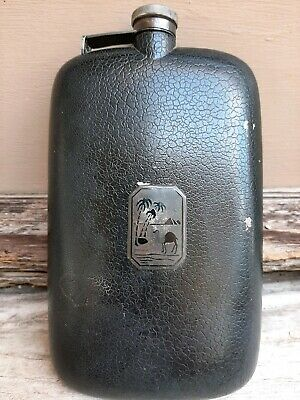 Vintage hip flask metal w/ black leather design with  camel, pyramid, palm tree