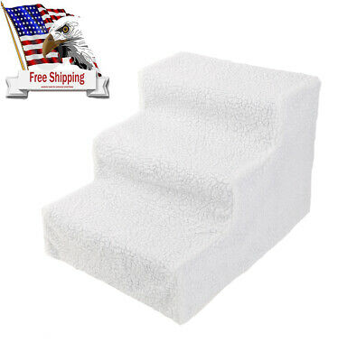 US Pet Stairs 3 Step Portable Dog Ladder Indoor Cat Steps Stair White