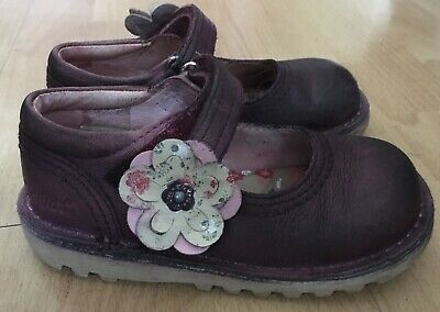 Girls Kickers Leather Flower Mary Jane Shoes Size 26, UK Jr 8